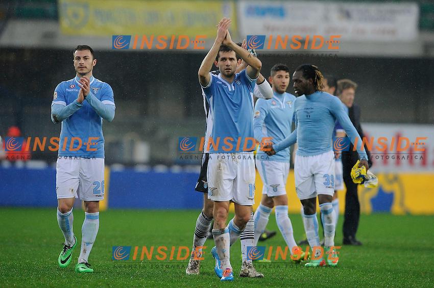 Esultanza Lazio. Celebration <br /> Verona 02-02-2014 Stadio Bentegodi. Football Calcio Serie A 2013/2014 Chievo Verona - Lazio foto Insidefoto
