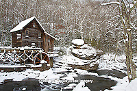 67395-04118 Glade Creek Grist Mill in winter, Babcock State Park, WV