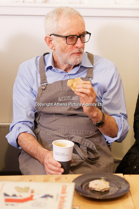Pictured: Jeremy Corbyn drinks coffee and has a welsh cake at Awesome Wales, a zero waste shop in Barry. Saturday 07 December 2019<br /> Re: Labour Party leader Jeremy Corbyn pre-election campaign in Barry, south Wales, UK.