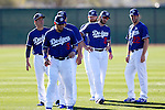 (L-R) Kenta Maeda, Yasmani Grandal, Brett Anderson, Brandon Beachy, Clayton Kershaw (Dodgers),<br /> FEBRUARY 20, 2016 - MLB :<br /> Los Angeles Dodgers spring training baseball camp in Glendale, Arizona, United States. (Photo by AFLO)