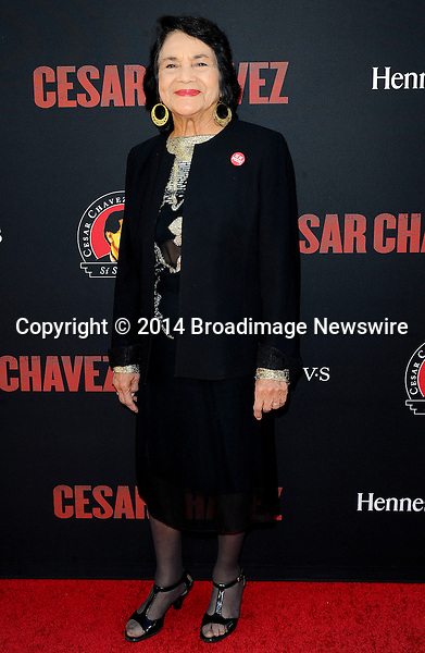Pictured: Dolores Huerta<br /> Mandatory Credit &copy; Adhemar Sburlati/Broadimage<br /> Film Premiere of Cesar Chavez<br /> <br /> 3/20/14, Hollywood, California, United States of America<br /> <br /> Broadimage Newswire<br /> Los Angeles 1+  (310) 301-1027<br /> New York      1+  (646) 827-9134<br /> sales@broadimage.com<br /> http://www.broadimage.com