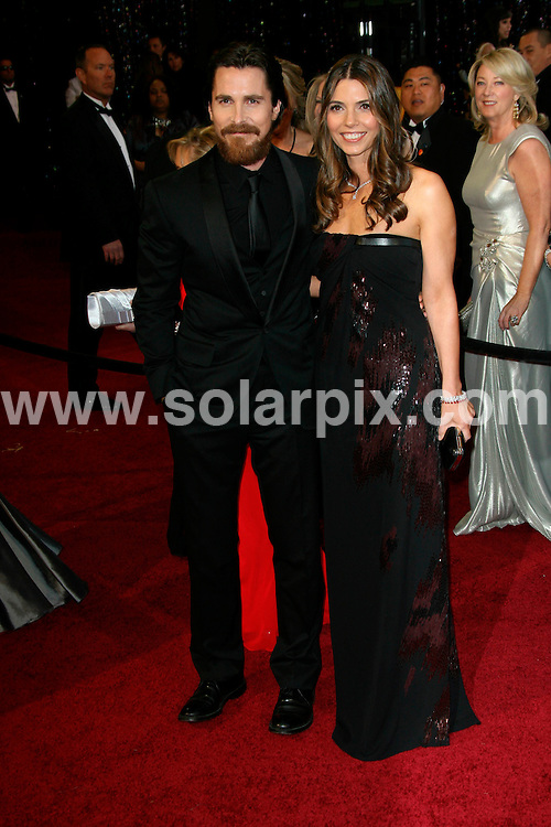 **ALL ROUND PICTURES FROM SOLARPIX.COM**                                             **SYNDICATION RIGHTS FOR UK, AUSTRALIA, DENMARK, PORTUGAL, S. AFRICA, SPAIN & DUBAI (U.A.E) & ASIA (EXCLUDING JAPAN) ONLY**                                                                                  Arrivals for the 83rd Annual Academy Awards, Kodak Theatre, Hollywood, CA, USA.                                                                        .This pic:      Christian Bale and wife Sibi Bale.JOB REF:    12901    PHZ/Evans       DATE: 27.02.11                                                           **MUST CREDIT SOLARPIX.COM OR DOUBLE FEE WILL BE CHARGED**                                                                      **MUST AGREE FEE BEFORE ONLINE USAGE**                               **CALL US ON: +34 952 811 768 or LOW RATE FROM UK 0844 617 7637**
