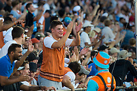 Mitchell Grimstone, who later won the $50'000 dollar catch a million competition after taking a one handed catch in the crowd, cheers the Black Caps on before he made the catch during the Black Caps v Australia international T20 cricket match at Eden Park in Auckland, New Zealand. 16 February 2018. Copyright Image: Peter Meecham / www.photosport.nz