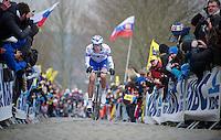 Ronde van Vlaanderen 2013..Yoann Offredo (FRA) up the Oude Kwaremont
