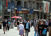 Pictured: Banners in Working Street, Cardiff Thursday 25 May 2017<br />Re: Preparations for the UEFA Champions League final, between Real Madrid and Juventus in Cardiff, Wales, UK.