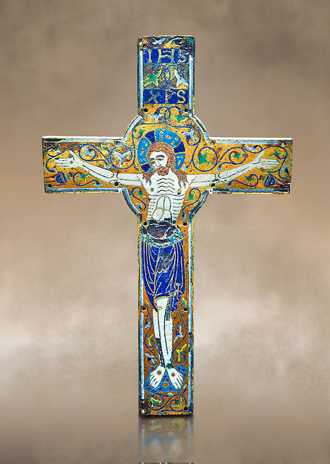 Medieval enamelled crucifix, end of the 12th century from Limoges, enamel on gold. AD. Inv OA 7284, The Louvre Museum, Paris.
