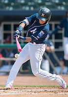 NWA Democrat-Gazette/CHARLIE KAIJO Northwest Arkansas Naturals shortstop Nicky Lopez (3) contacts the ball during a baseball game, Sunday, May 13, 2018 at Arvest Ballpark in Springdale.
