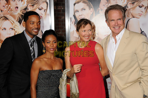 "WILL SMITH, JADA PINKETT SMITH, ANNETTE BENING & WARREN BEATTY  .""The Women"" Los Angeles Premiere at Mann's Village Theatre, Westwood, California, USA..September 4th, 2008.half length silver grey gray strapless dress red black suit jacket beige married husband wife couple .CAP/ADM/BP.©Byron Purvis/AdMedia/Capital Pictures."