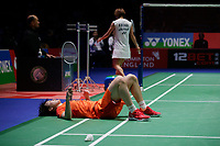 14th March 2020, Arena Birmingham, Birmingham, UK; Chinas Chen Yufei lies on the court after diving for a shot during the womens singles semifinal match between Chinas Chen Yufei and Japan s Okuhara Nozomi at All England Badminton 2020 in Birmingham