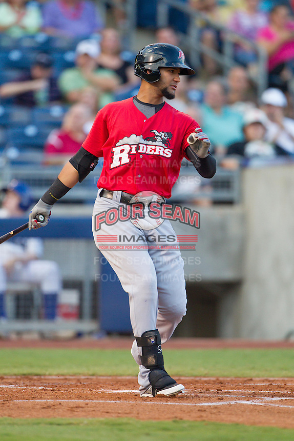 Frisco RoughRiders right fielder Nomar Mazara (9) at bat during the Texas League game against the Tulsa Drillers at ONEOK field on August 15, 2014 in Tulsa, Oklahoma  The RoughRiders defeated the Drillers 8-2.  (William Purnell/Four Seam Images)