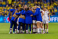 LE HAVRE,  - JUNE 20: The USWNT huddles during a game between Sweden and USWNT at Stade Oceane on June 20, 2019 in Le Havre, France.
