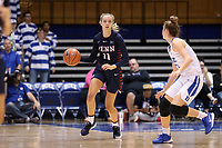 DURHAM, NC - NOVEMBER 29: Kendall Grasela #11 of the University of Pennsylvania brings the ball up the court during a game between Penn and Duke at Cameron Indoor Stadium on November 29, 2019 in Durham, North Carolina.