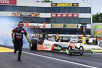 Jun 5, 2015; Englishtown, NJ, USA; NHRA top fuel driver Clay Millican during qualifying for the Summernationals at Old Bridge Township Raceway Park. Mandatory Credit: Mark J. Rebilas-