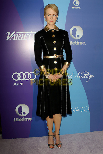 Nicole Kidman<br /> Variety's 5th Annual Power Of Women Event held at the Beverly Wilshire Four Seasons Hotel, Beverly Hills, California, USA, <br /> 4th October 2013.<br /> full length black velvet gold dress coat buttons belt collar strappy sandals <br /> CAP/ADM/KB<br /> &copy;Kevan Brooks/AdMedia/Capital Pictures