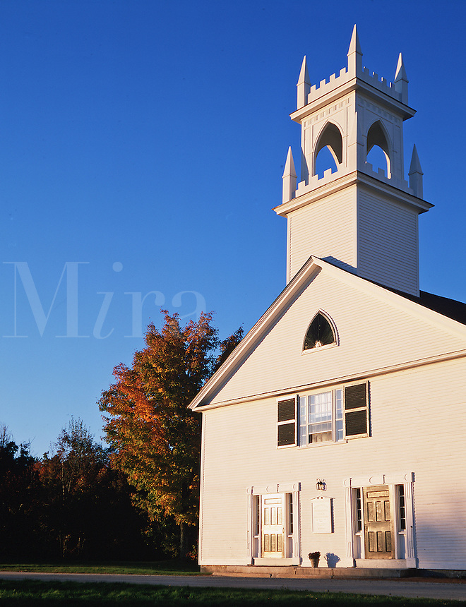 An exterior view of the Washington Congregational Church under a bright blue autumn sky. Washington, New Hampshire.