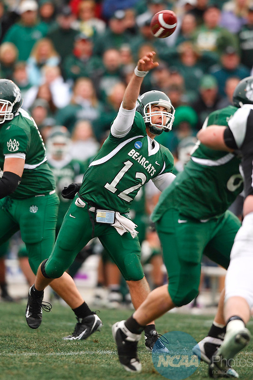 13 Dec 2008: Northwest MIssouri State quarterback Joel Osborn throws a pass the 2008 Division II Football Championship at Braly Municipal Stadium in Florence, AL.  Osborn and the Bearcats fell to the University of Minnesota-Duluth by a score of 21-14 in the title game. Trevor Brown, Jr/NCAA Photos.