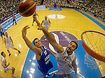BELGRADE SERBIA - 11/09/2012. Guy Pnini of Israelis blocked by Nenad Krstic (R) of Serbia of Serbia during FIBA Eurobasket 2013  group A qualification basketball game Serbia vs Israel in Pionir arena Belgrade, Serbia (CREDIT: STARSPORT)