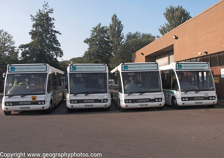 School transport minibus fleet in depot, Bath, Somerset, England