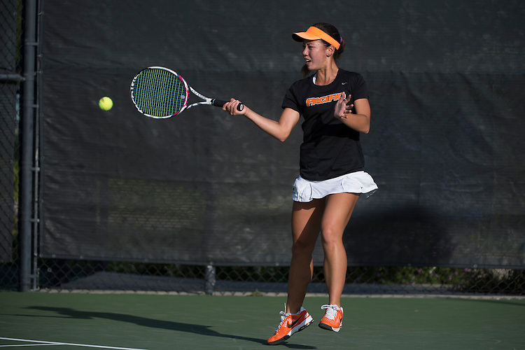 April 23, 2014; San Diego, CA, USA; Pacific Tigers player Francis Dean during the WCC Tennis Championships at Barnes Tennis Center.
