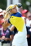 DES MOINES, IA - AUGUST 18: Europe's Emily Pedersen hits her tee shot on the 1st hole during her afternoon match at the 2017 Solheim Cup in Des Moines, IA. (Photo by Dave Eggen/Inertia)