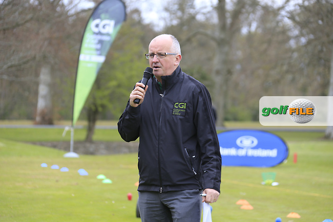 Justin O'Byrne CGI introduce the regional Finalists at the national finals of the Dubai Duty Free Irish Open Skills Challenge supported by Bank of Ireland in conjunction with CGI at the GUI National Golf Academy, Carton House, Maynooth, Co Kildare. 24/04/2016.<br /> Picture: Golffile | Fran Caffrey<br /> <br /> <br /> All photo usage must carry mandatory copyright credit (&copy; Golffile | Fran Caffrey)