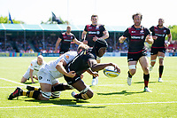 Maro Itoje of Saracens scores a try in the second half. Aviva Premiership Semi Final, between Saracens and Wasps on May 19, 2018 at Allianz Park in London, England. Photo by: Patrick Khachfe / JMP