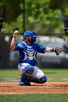 Dunedin Blue Jays catcher Alejandro Kirk (26) throws the ball back to the pitcher during a Florida State League game against the Jupiter Hammerheads on May 16, 2019 at Jack Russell Memorial Stadium in Clearwater, Florida.  Dunedin defeated Jupiter 1-0.  (Mike Janes/Four Seam Images)