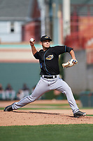 Akron RubberDucks relief pitcher Cameron Hill (10) delivers a pitch during a game against the Erie SeaWolves on August 27, 2017 at UPMC Park in Erie, Pennsylvania.  Akron defeated Erie 6-4.  (Mike Janes/Four Seam Images)