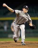 Rice Owl pitcher Tyler Duffey #42 against the Texas Tech Red Raiders on Saturday March 6th, 2100 at the Astros College Classic in Houston's Minute Maid Park.  (Photo by Andrew Woolley / Four Seam Images)