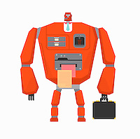 Robot businessman working as office machinery