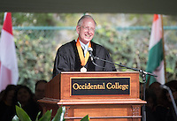 David Berkus '62, Vice Chair, Board of Trustees, gives the opening remarks at Occidental College's 133rd Commencement at the Remsen Bird Hillside Theater, on Sunday, May 17, 2015.<br /> (Photo by Marc Campos, Occidental College Photographer)