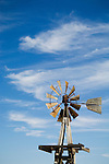 Baker steel windmill and wispy clouds, New Mexico