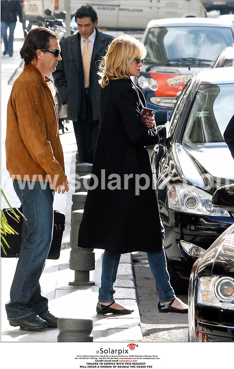 "ALL ROUND EXCLUSIVE BY SOLARPIX.COM.MUST CREDIT SOLARPIX.COM OR DOUBLE FEE WILL BE CHARGED.Antonio Banderas and Melanie Griffith in Madrid yesterday looking every bit a loving couple.Antonio was in Madrid presenting his new "" Camino de ingleses"" (The English way).JOB REF-SPA  3126 1/11/06"