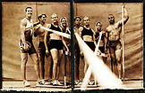 USA, California, portrait of USC track and field athletes, Los Angeles  (B&W)