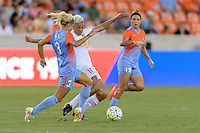 Houston, TX - Saturday July 30, 2016: Rachel Daly, Lianne Sanderson during a regular season National Women's Soccer League (NWSL) match between the Houston Dash and the Western New York Flash at BBVA Compass Stadium.