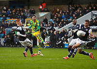 9th February 2020; The Den, London, England; English Championship Football, Millwall versus West Bromwich Albion; Filip Krovinovic of West Bromwich Albion shoots and scores his sides 1st goal in the 42nd minute to make it 0-1