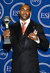 NFL player David Tyree of the New York Giants poses with the award for 'Best Play' in the press room at the 2008 ESPY Awards held at NOKIA Theatre L.A. LIVE on July 16, 2008 in Los Angeles, California.
