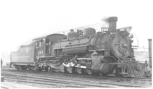 3/4 engineer side view of K-36 #485 at Chama.<br /> D&amp;RGW  Chama, NM  Taken by Best, Gerald M. - ca 1938