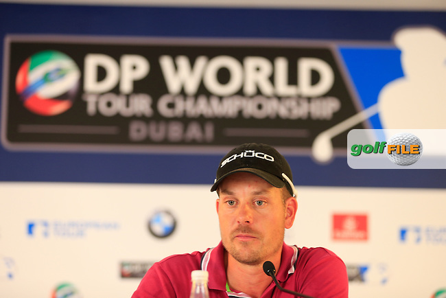 Henrik STENSON (SWE) after finishing round 2 of the season ending DP World, Tour Championship, Dubai, UAE.<br />