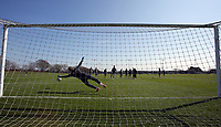 Pictured: Goalkeeper Gregor Zabret makes a save of a penalty kick Friday 24 March 2017<br /> Re: Swansea City U23 training ahead of their International Cup game against Porto, Fairwood training ground, UK