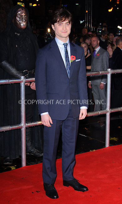 WWW.ACEPIXS.COM . . . . .  ..... . . . . US SALES ONLY . . . . .....November 11 2010, London....Actor Daniel Radcliffe at the World premiere of 'Harry Potter and the Deathly Hallows Part 1' held at the Odeon Leicester Square on November 11 2010 in London....Please byline: FAMOUS-ACE PICTURES... . . . .  ....Ace Pictures, Inc:  ..Tel: (212) 243-8787..e-mail: info@acepixs.com..web: http://www.acepixs.com