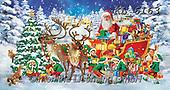 Interlitho-Simonetta, CHRISTMAS SANTA, SNOWMAN, WEIHNACHTSMÄNNER, SCHNEEMÄNNER, PAPÁ NOEL, MUÑECOS DE NIEVE, paintings+++++,santa, sleigh,KL6163,#x# ,puzzle,puzzles
