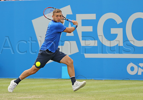 21.06.2016. Nottingham Tennis Centre, Nottingham, England. Aegon Open Mens ATP Tennis. Concentration from Daniel Evans of Great Britain who defeated Ricardas Berankis of Lithuania in three sets