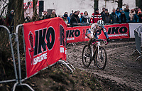 Evie Richards (GBR/TrekFactoryRacing) leading the race<br /> <br /> Women U23 Race<br /> UCI CX Worlds 2018<br /> Valkenburg - The Netherlands