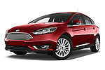Stock pictures of low aggressive front three quarter view of a 2015 Ford Focus Titanium 5 Door Hatchback Low Aggressive