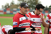 Karaka Coach Chris Bean. Counties Manukau Premier Club Rugby game between Papakura and Karaka played at Massey Park Papakura on Saturday May 5th 2018. Papakuar won the game 28 - 25 after trailing 6 - 12 at halftime.<br /> Papakura - Faalae Peni, Darryl Hemopo, George Crichton, Federick Cain tries, Faalae Peni conversion; Faalae Peni 2 penalties, Karaka -Salesitangi Savelio, Cardiff Vaega, Walter Fifita tries, Juan Benadie 2 conversions, Juan Benadie 2 penalties.<br /> Photo by Richard Spranger.