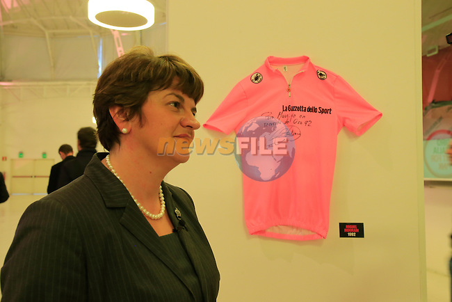 Arlene Foster, Minister for Trade &amp; Enterprise Northern Ireland, at the 2014 Giro d'Italia Presentation held in the Palazzo del Ghiaccio in Milan, Italy. 7th October 2013.<br />