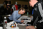 17 January 2008: U.S. National teamer Heather Mitts signs autographs in the Exhibit Hall. The 2008 National Soccer Coaches Association of America's annual convention was held at the Convention Center in Baltimore, Maryland.