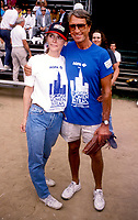 ***FILE PHOTO*** Margot Kidder has passed away at 69****<br /> Roy Scheider &amp; Margot Kidder during the Women In Film softball game on June 1, 1987 in Central Park, New York City. <br /> CAP/MPI/WAL<br /> &copy;WAL/MPI/Capital Pictures