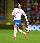 Ivan Obradovic of Serbia during the FIFA World Cup Qualifying match at the Cardiff City Stadium, Cardiff. Picture date: November 12th, 2016. Pic Robin Parker/Sportimage